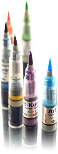 Pre-filled watercolour brushes.