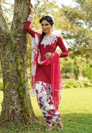 Utsav Fashion : red-cotton-patiala-kameez