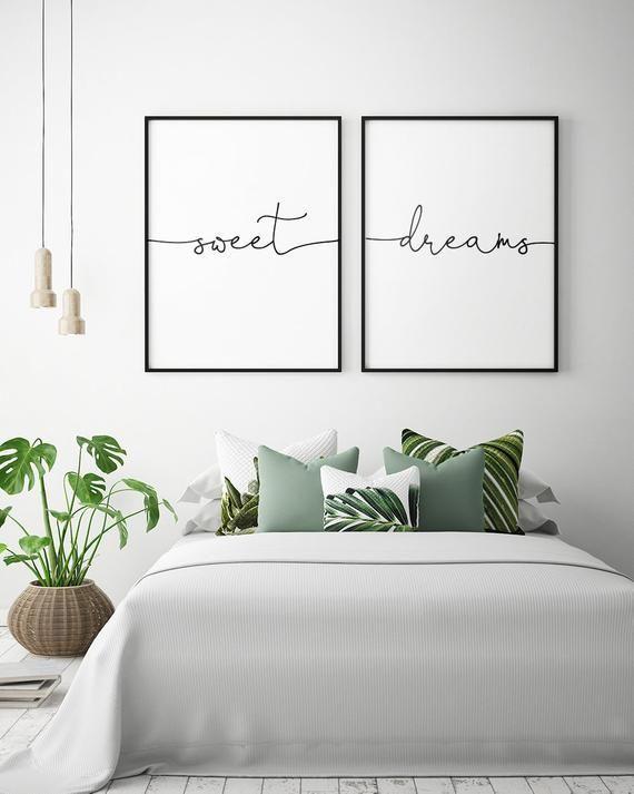 Über dem Bett Kunst – süße Träume – druckbare Kunst (2er-Set), Schlafzimmer Dekor, skandinavische Kunst, Schlafzimmer Wandkunst Poster ** Instant Download