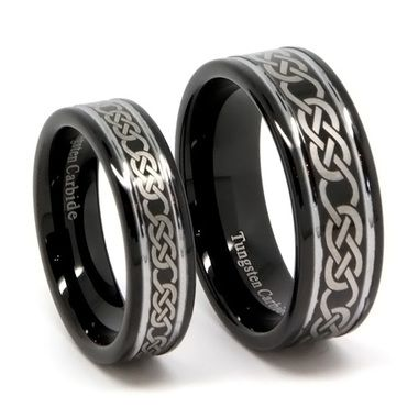 matching tungsten wedding band set his her black laser etched celtic design rings high polish black finish and step edge 8mm 6mm