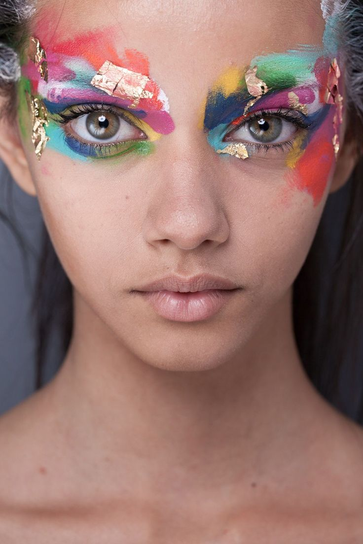 Sparkle shine glitter hair and makeup feathers shimmer - Avant Garde Makeup Rainbow Of Colors