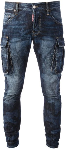 DSQUARED2* Washed Camouflage Jeans, Blue