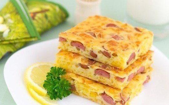 Пирог с сыром и сосисками  Ингредиенты: - 250 мл кефира - 150 г муки - 2 яйца - 200 г сыра - 200 г сосисок (или колбасы) - 1 ч.л. разрыхлителя - соль  Приготовление: 1. Сыр натереть на крупной терке. Сосиски порезать тонкими кружочками. 2. Яйца, кефир, 1/3 ч.л. соли смешать до однородности. Добавить разрыхлитель и муку, перемешать, чтобы не было комков. 3. Добавить сыр и сосиски, перемешать. Переложить тесто в форму, смазанную маслом (у меня форма 25х25 см). 4. Поставить в разогретую до 180…