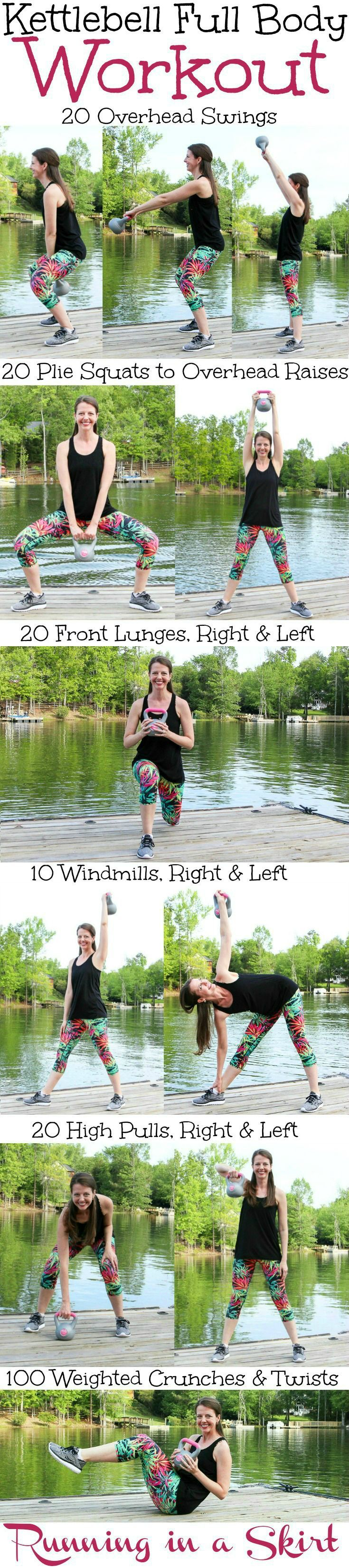 Kettlebell Full Body Workout!  A fat burning, at home routine for arms, upper body, abs, glutes and legs that gets results!  Also gets the heart rate up with cardio.  Great to tone it up with simple moves even a beginner can do.  Add more reps for advanced! / Running in a Skirt