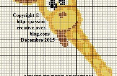 Grille gratuite point de croix : Girafe rigolote