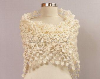 Gehaakte omslagdoek Wrap Lace sjaal gehaakte driehoek door lilithist