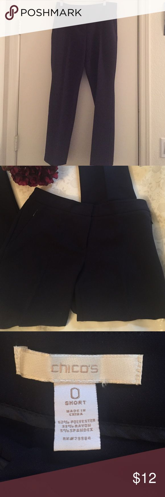 Navy Dress Pants Basic dress pants for any occasion. Creases down the middle of each leg and zippered side pockets. Chico's Pants Trousers