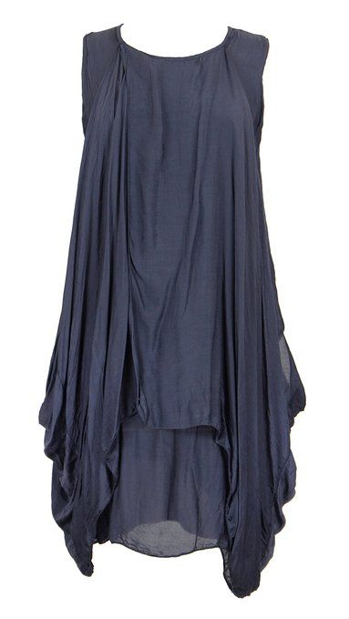 Ladies Womens Italian Lagenlook Quirky Layer Sleeveless Silk Double Flap Front Drape Wrapover Crossover Tunic Dress One Size (UK 8-14) (One Size, Navy)