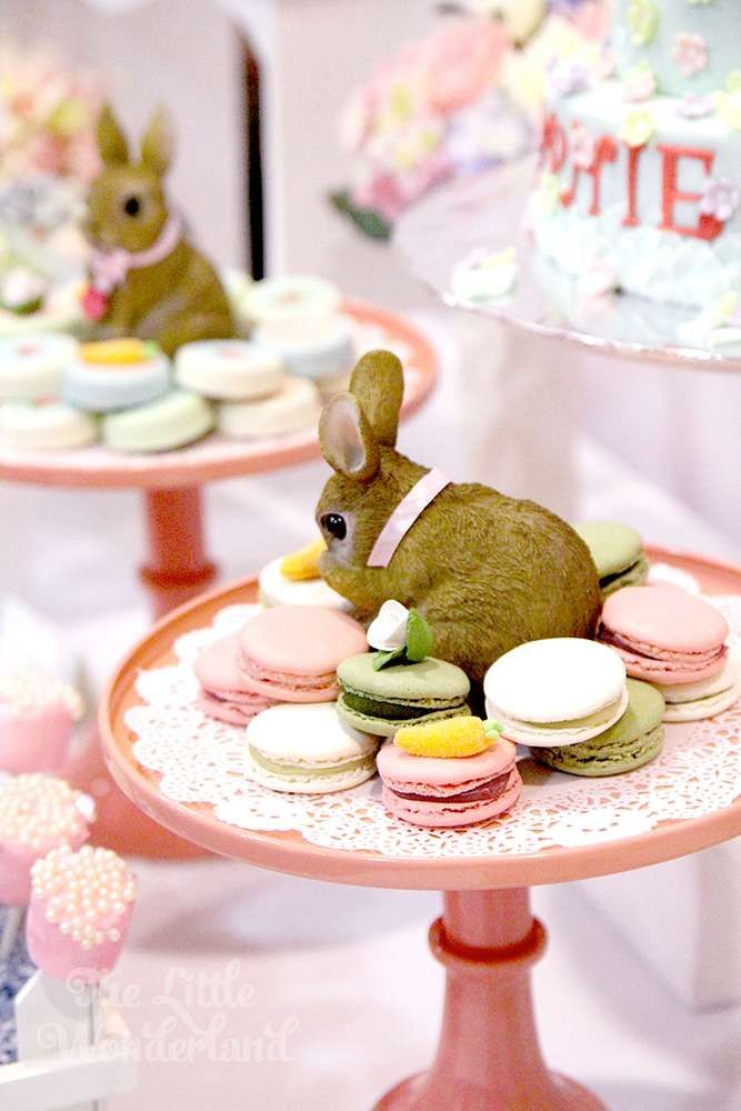 Pastel macarons at a shabby chic bunny birthday party! See more party ideas at CatchMyParty.com!
