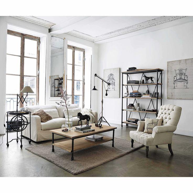 Table basse à roulettes en manguier et métal L 135 cm Archibald | Maisons du Monde