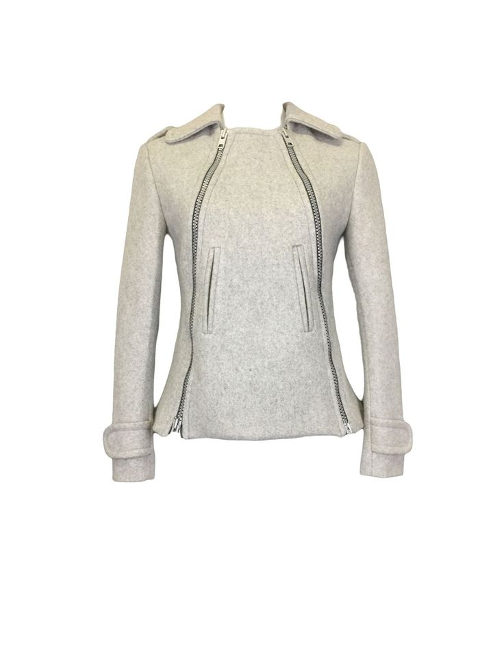 Ash Grey Melton Pea Jacket by Atelieri