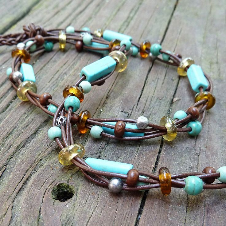 Turquoise Choker - Turquoise Beads, Howlite Beads, Brown Leather Necklace, Multi Strand Necklace
