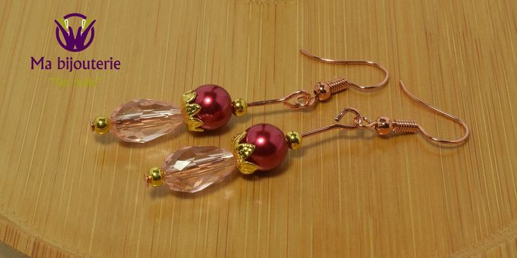 """Boucles d'Oreilles Originales """"Perles Nacre Fuschia"""""""