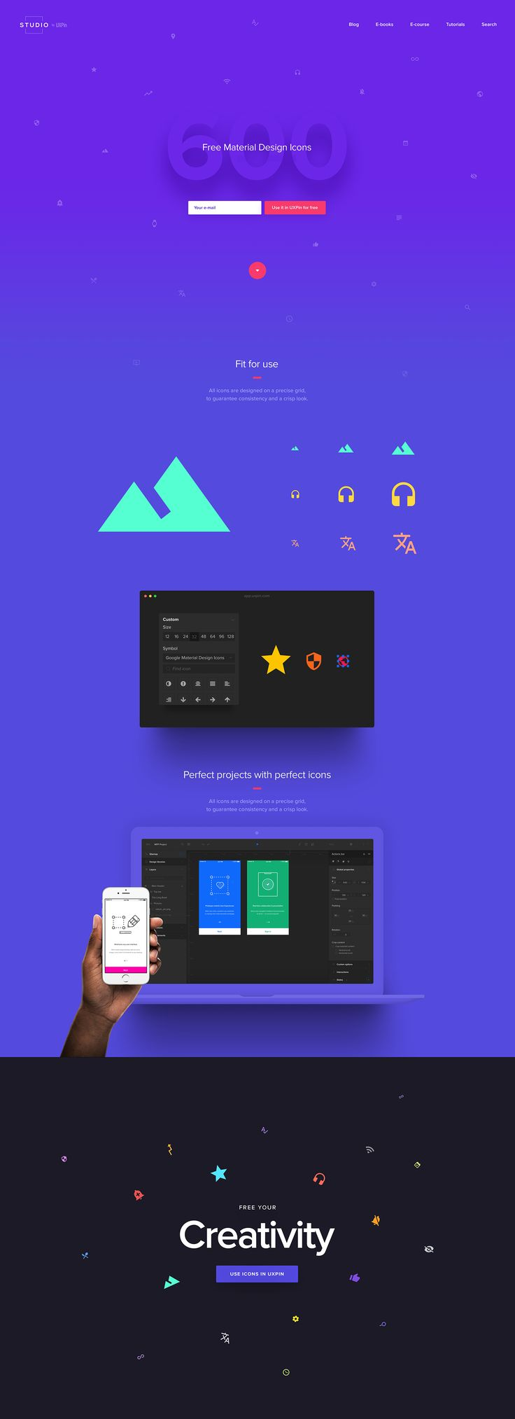 Material Design Icons Landing Page