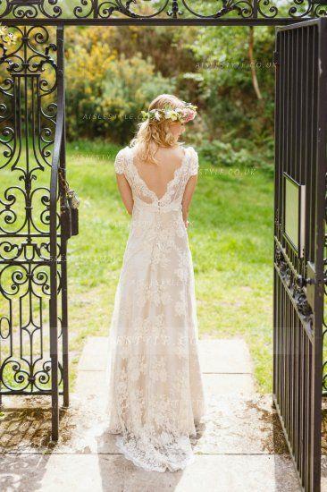 Boho Scoop Neck V Nack Empire Lace Al Over Wedding Dress With Cap Sleeves Ukbohemian Style