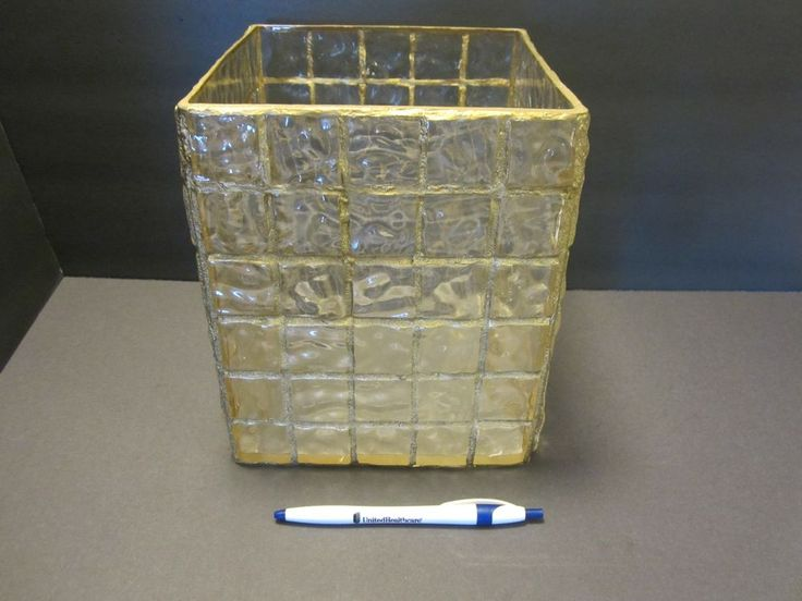 Vintage Rare Lucite Paper Waste Basket Can Cube w/ cubes gold Mid Century Modern #Unbranded