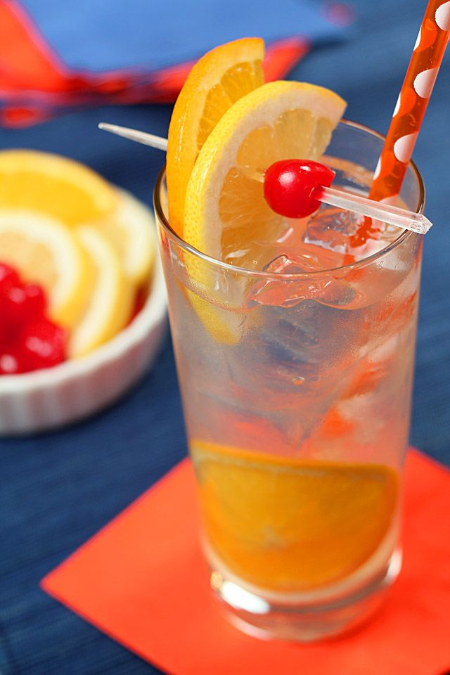 Tom Collins:  4 ounces gin  1-2 oz lemon juice depending on personal taste  2 tsp simple syrup (combine equal parts water and sugar; bring to boil until sugar melts, remove from heat and cool)  Club soda or seltzer water, chilled  Maraschino cherry, lemon and orange slices for garnish