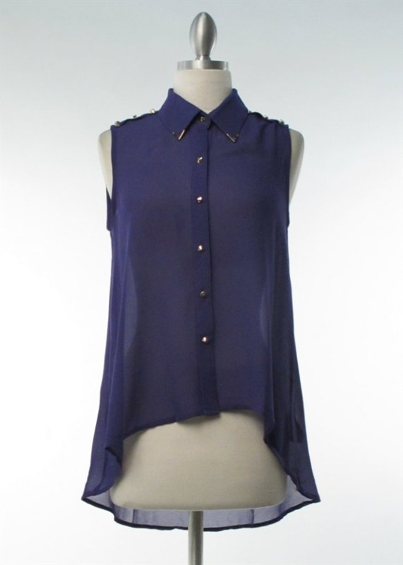purple button down with small spike buttons and accented tips on collar on www.pourlafemmes.com