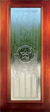 Front Double Door Texas Star Glass