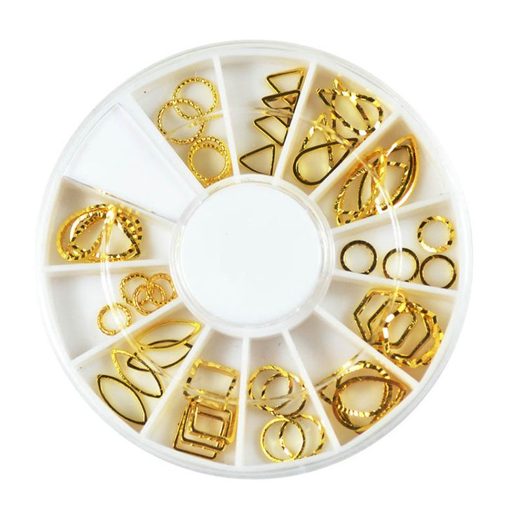 12 Models Hollow Gold Metal 3d Nail Art Stickers Tips Slice Glitter Charms Nail Tools DIY Decoration Wheel
