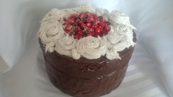 LARGE Faux Wildberry Topped Chocolate Frosted by ReadyMadeGifts, $39.99. Would make a beautiful gift!