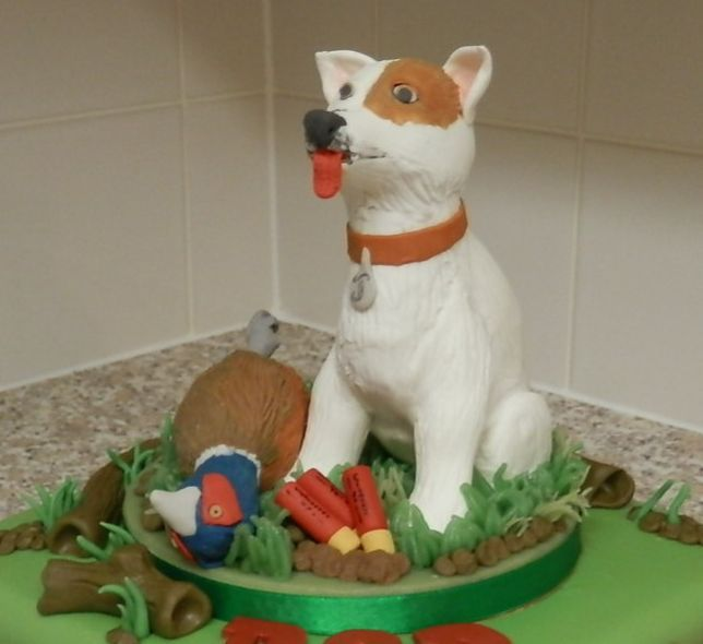 Jack Russell Terrier and #Pheasant #Cake Topper including Shotgun Cartridges.  #JackRussellTerrier marzipan / sugarpaste figure  Like our page on www.facebook.com/BecclesCrumbsofJoy share with other the joy of Sugar Craft Follow us on Twitter https://twitter.com/crumbsofjoy - Beccles and see our collection of figures and cakes grow.Enjoy :-)