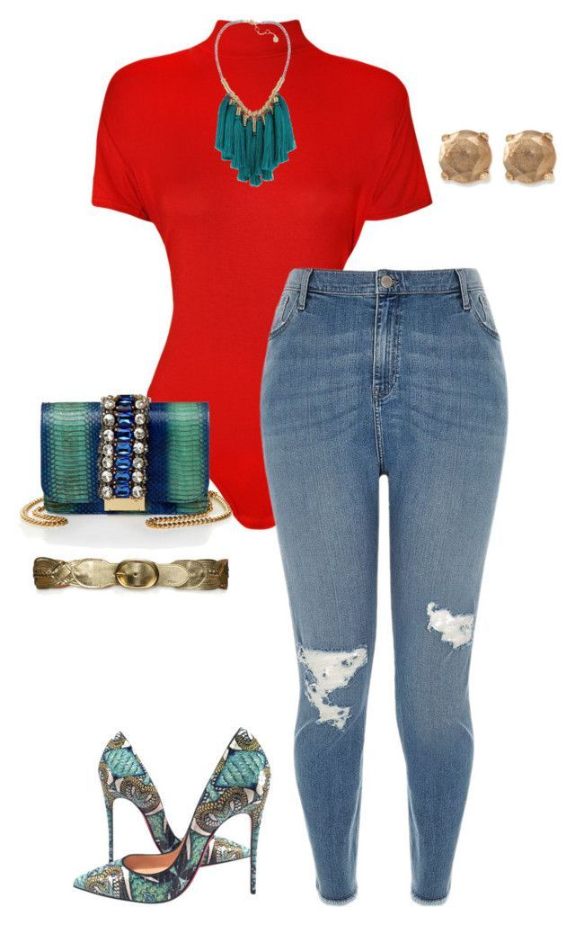 Red body suit, destroyed jeans, turquoise snakeskin pumps and handbag