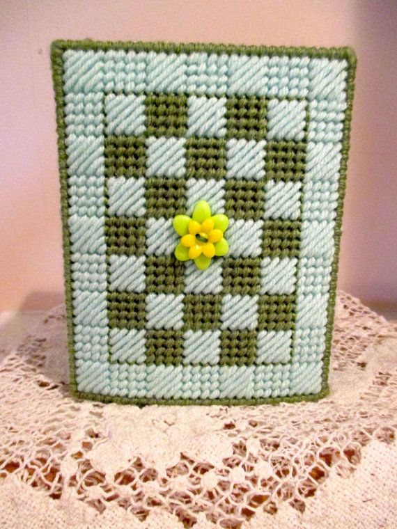 Green Checked Handcrafted Tissue Box Cover in by craftpatch