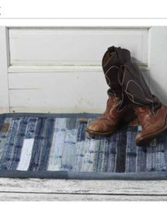 """All denim scrap rug. Use store bought """"no-slip"""" rug backing. Then bind with denim strips.  36x24 to fit most doors. Can do 30' or 32' as well."""