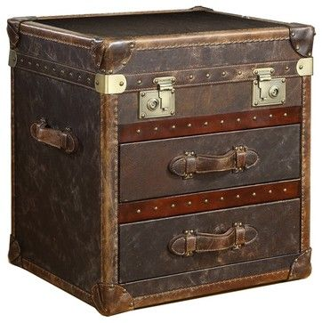Vintage Steamer Side Table with 2 Drawers Cigar Leather - traditional - side tables and accent tables - Zin Home