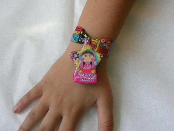 Prayer ribbon bracelet  charm Virgencita Plis Que by Etnochik, $8.75