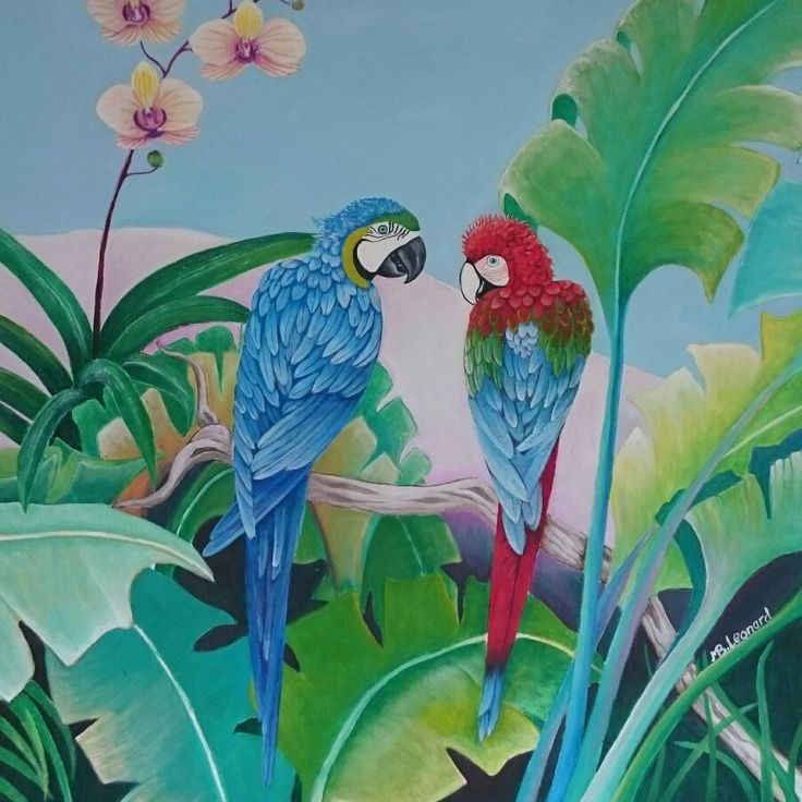Parrots   Acrylics on canvas   Size: 60x60 cm
