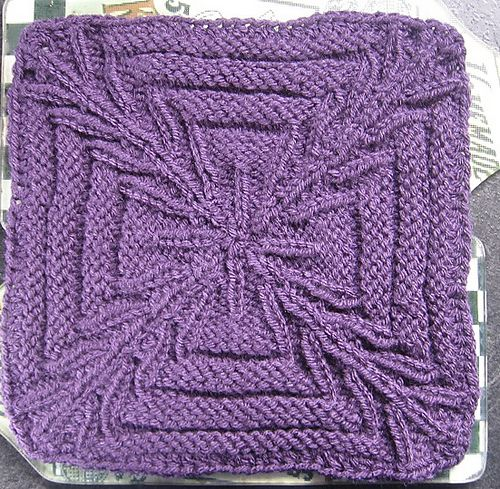 "Ravelry: Crossed Purposes 9"" Knit Afghan Block Square pattern by Margaret MacInnis - FREE"