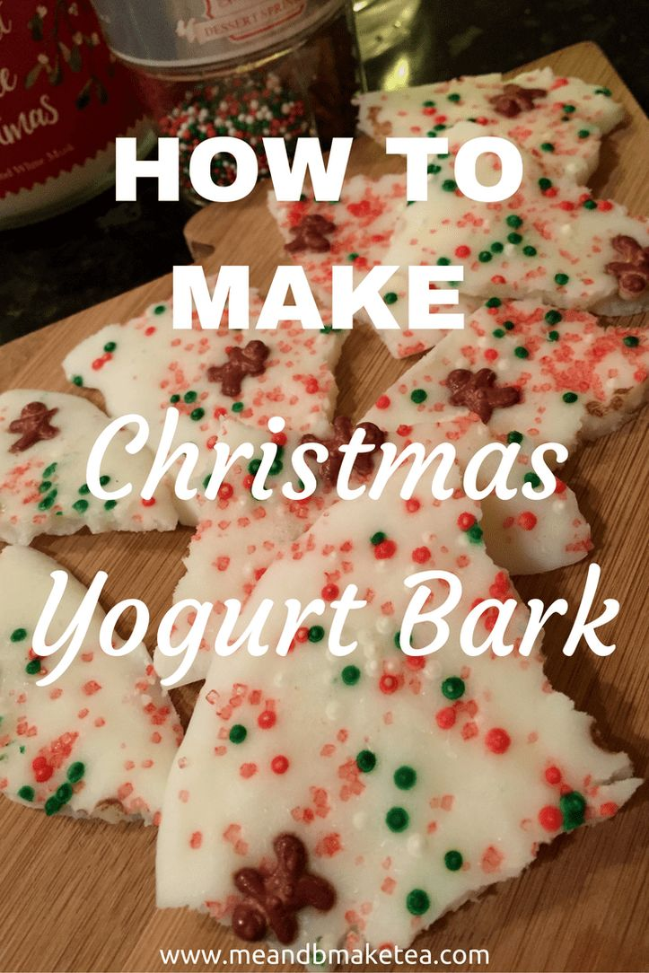 How to Make Christmas Yogurt Bark  At Christmas my mum typically makes this delicious chocolate bark which she sprinkles with candy canes. It's just the right amount of peppermint and tastes delicious.