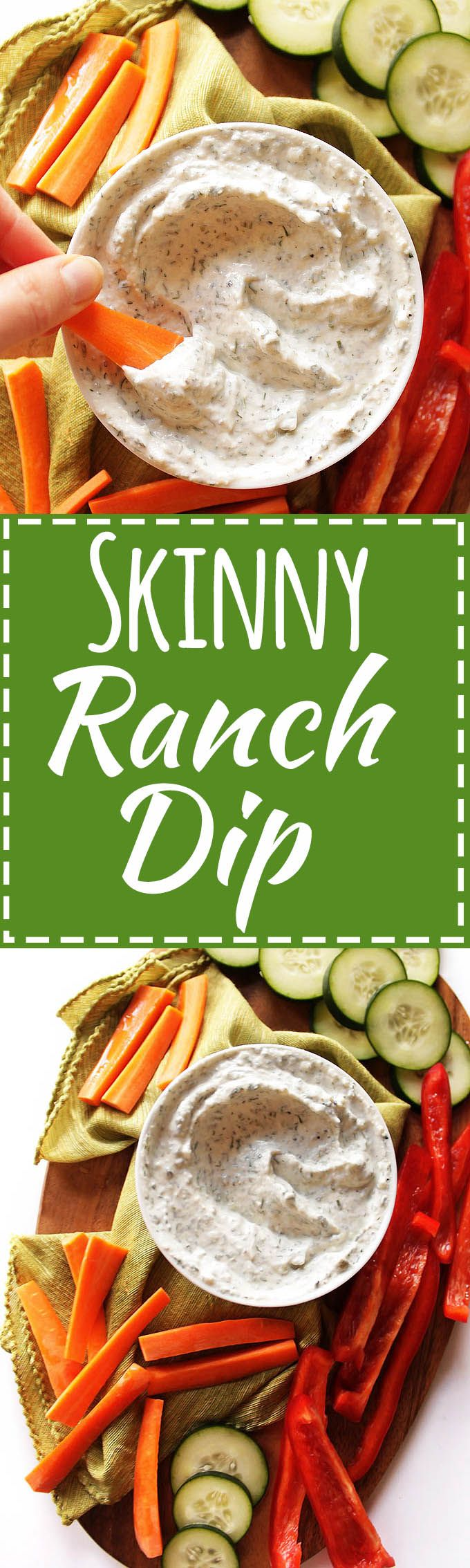 Skinny Ranch Dip - Thick, creamy HEALTHY ranch dip recipe that tastes delicious! It's made with nonfat Greek yogurt that has plenty of protein and live active cultures. It only takes 10 minutes to mix up! Plus it's perfect for any veggie platter! Gluten Free | robustrecipes.com