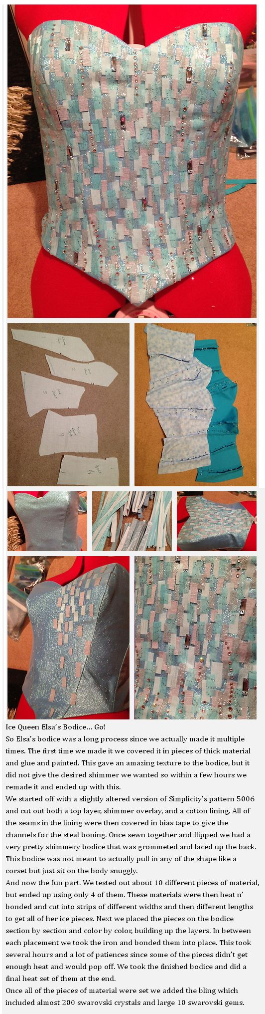 Elsa's corset {I feel like it's time I try the hard way...but I'm not giving up perfecting my Elsa}
