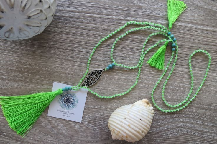 Tassel Necklace Long Lime Green Crystal Beads Lacy Leaf Charm Amulet Double Layer Boho by SeaCircusCollections on Etsy