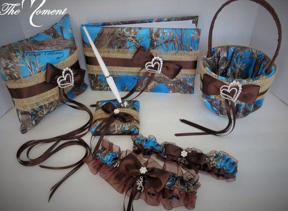 Blue Camo and Burlap Wedding Set Camo Basket by TheMomentWedding