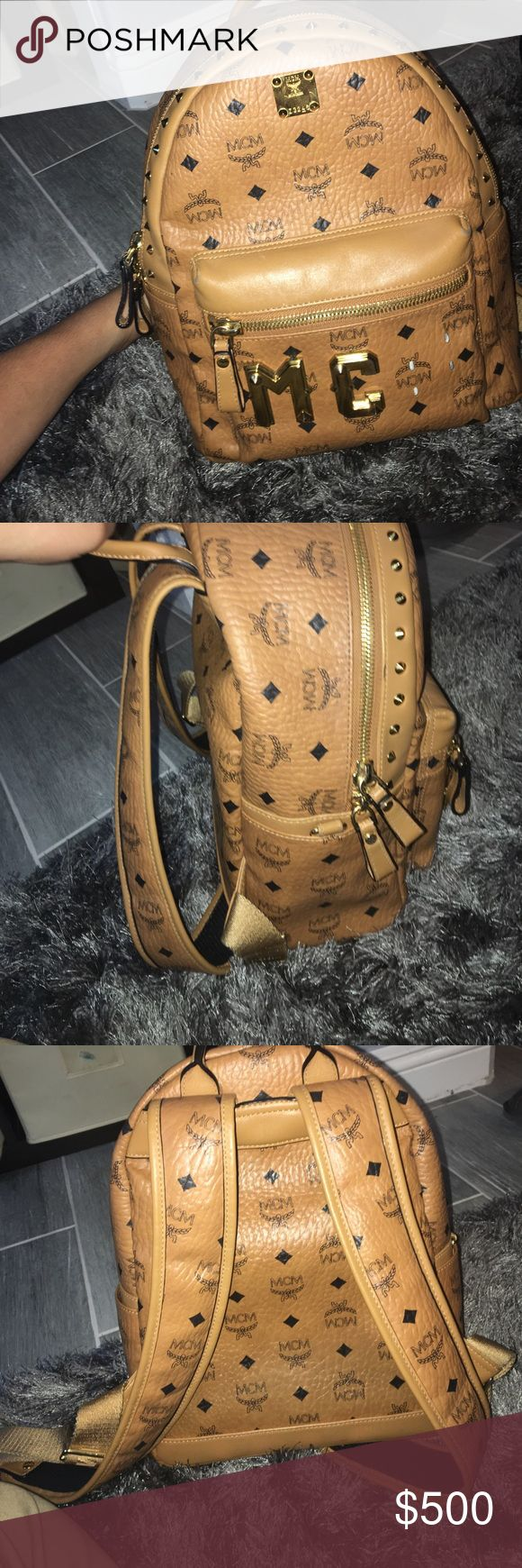 MCM backpack Good condition, 100% authentic MCM backpack with studs. I don't know when or where but the M fell off as you can see and I can't find it. That's why it's priced low. Smaller size MCM Bags Backpacks