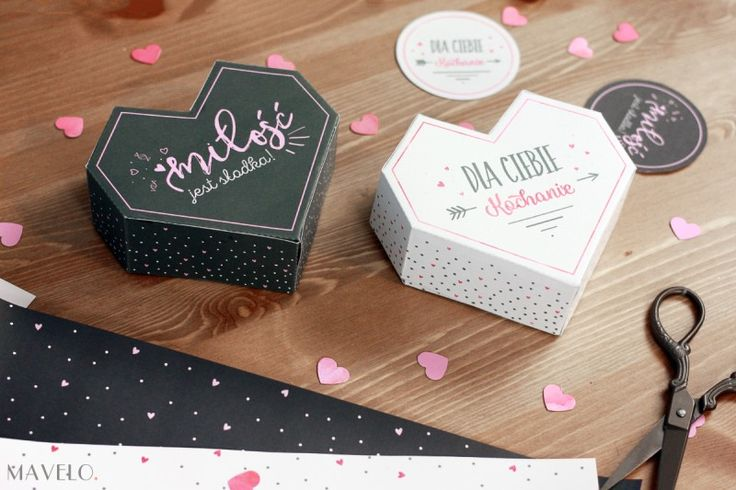 Pudełeczka, papier ozdobny i etykietki na Walentynki