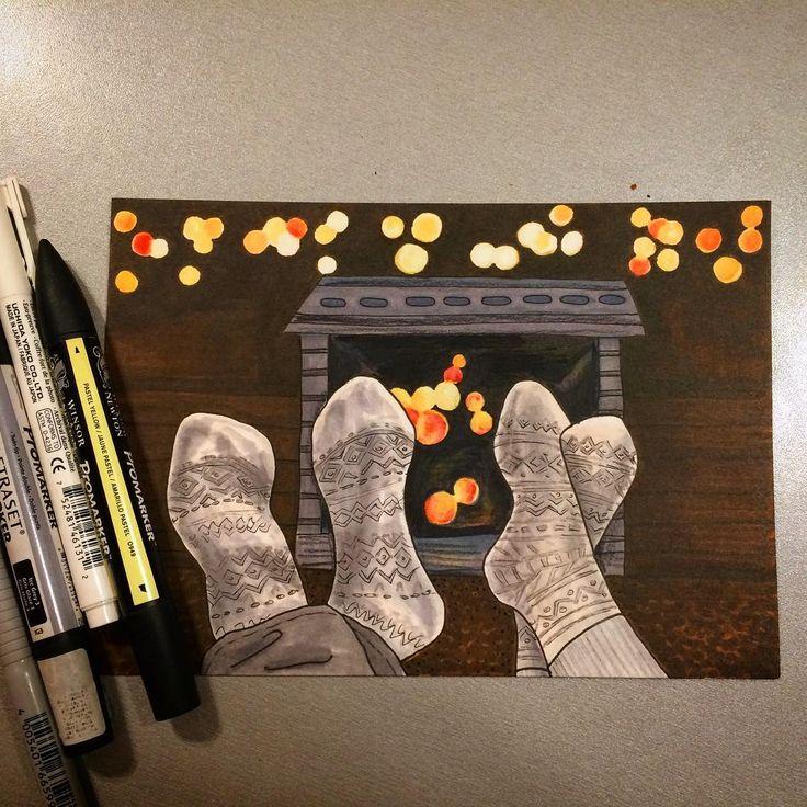 Идеальный день для двоих это когда не надо никуда бежать, и не важно какая погода за окном, и пусть весь мир подождёт.#alexandradikaia_ldc #sketch #sketchbook #sketching #markers #mylove #myvalentine #socks #love #любовь #камин #носки #двое #пара