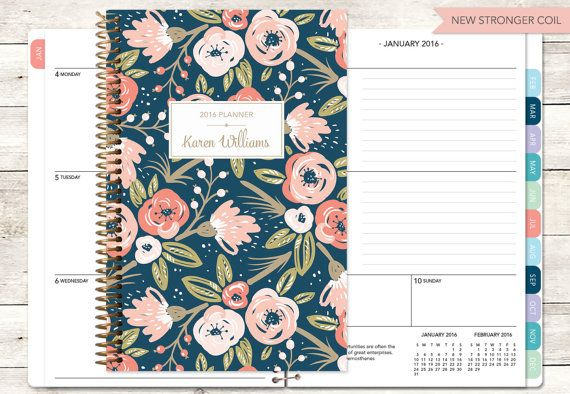 2017 planner | 2016-2017 calendar | weekly student planner add monthly tabs | personalized planner agenda daytimer | pink navy gold floral