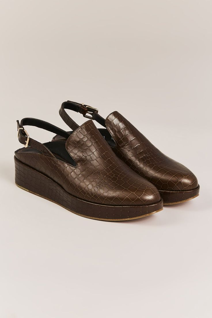 NALICE PLATFORM SHOES, CHOCOLATE CROC BY ROBERT CLERGERIE