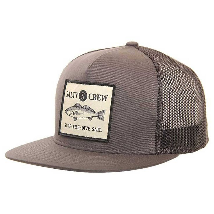 Trucker hat featuring sewn on Salty Crew patch. Spend about the same amount  of time in the ocean as land  The Salty Crew Sea Bass Trucker Hat is the  perfect ... e15709340938