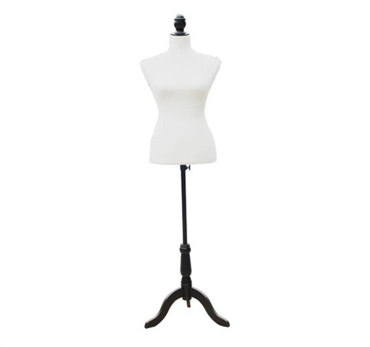 Features: -Form on a height adjustable black base. -Tripod design pine wood stand. -Accommodates any style garment. -Material: Foam, metal, MDF, pine wood. -Form on a height adjustable black base