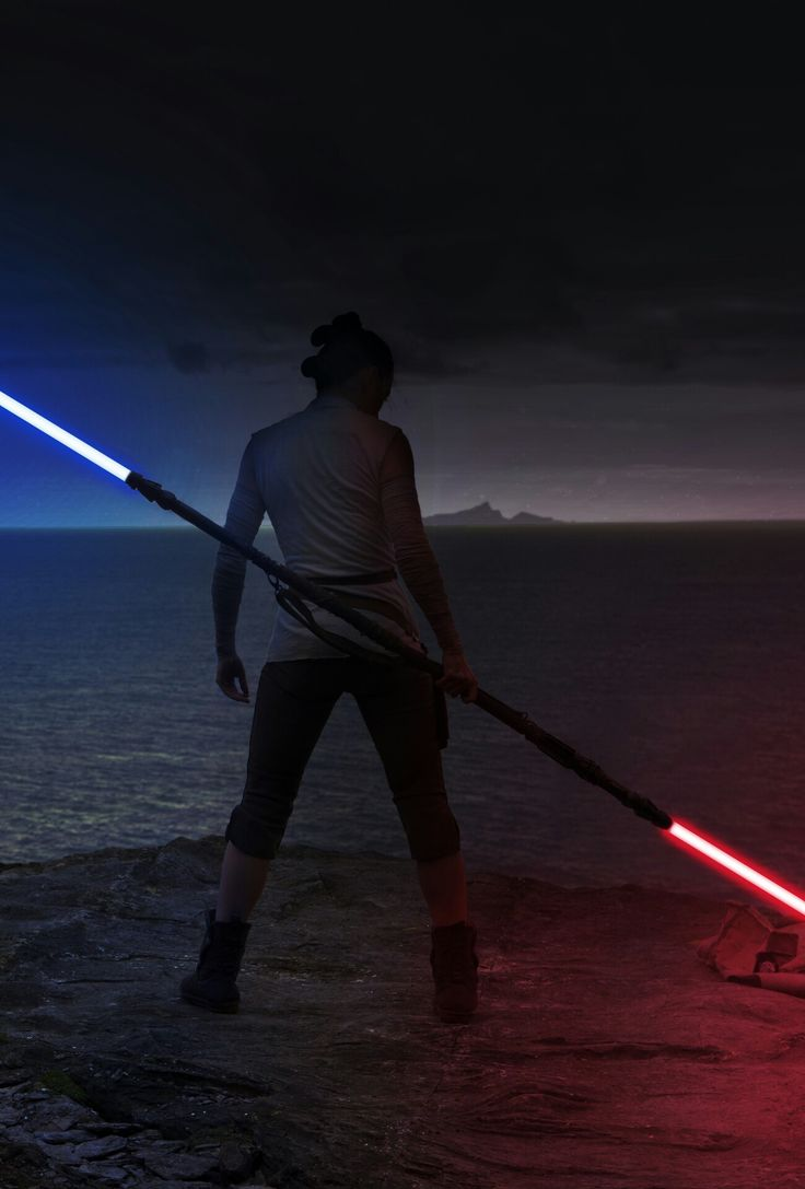 Rey with double lightsaber, red and blue lightsaber #starwars #rey #starwarsIX #lightsaber #blue #red #force #light #dark #doublelightsaber #photoshop #artwork