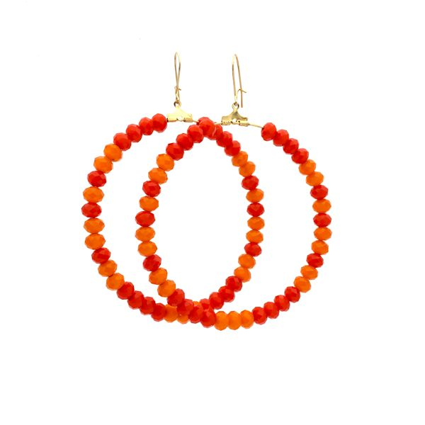 Tangelo Frutti Tutti Earrings $110 hand made from 14kt yellow gold and tangerine and orange crystals www.katemccoy.com