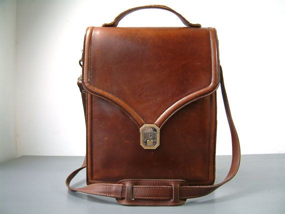 French vintage LARGE genuine leather brown leather satchel. Long strap. Unisex leather cross body satchel. Man bag.  Ipad. Tablet