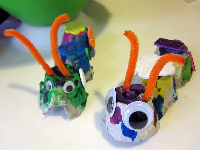 Rae Gun Ramblings: Tutorial: Easy Egg Crate Caterpillar Craft