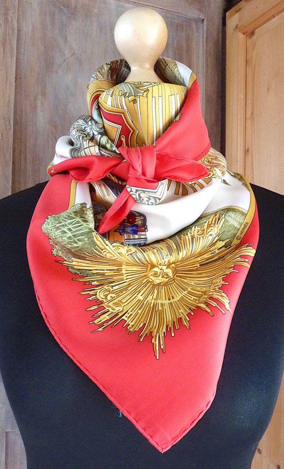 Authentic Hermes scarf RedWhiteGold by VintageParisLuxe on Etsy